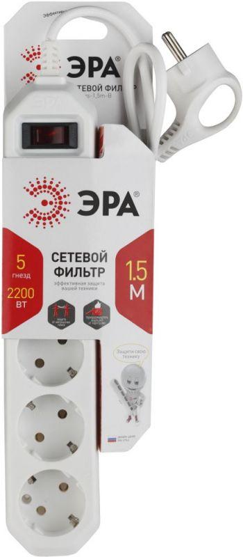 Сетевой фильтр Эра USF-5es-1.5m-W 1.5м (5 розеток) белый (коробка)