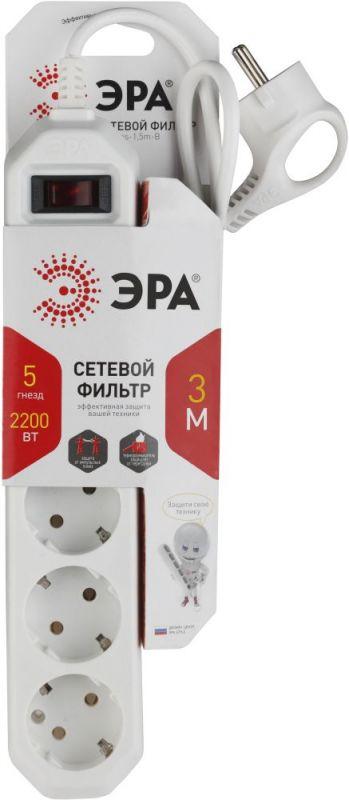 Сетевой фильтр Эра USF-5es-3m-W 3м (5 розеток) белый (коробка)