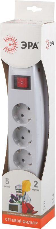 Сетевой фильтр Эра SF-5es-2m-W 2м (5 розеток) белый (коробка)