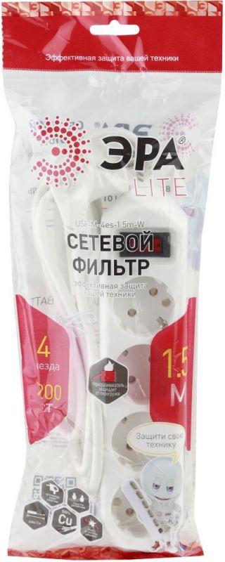 Сетевой фильтр Эра USF-M-4es-1.5m-W 1.5м (4 розетки) белый (пакет ПЭ)