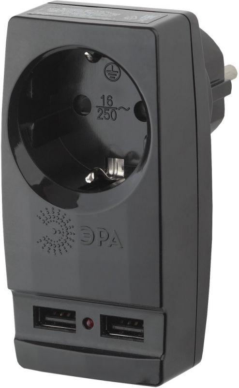 Адаптер-переходник Эра SP-1e-USB-B (1 розетка) черный (пакет ПЭ)