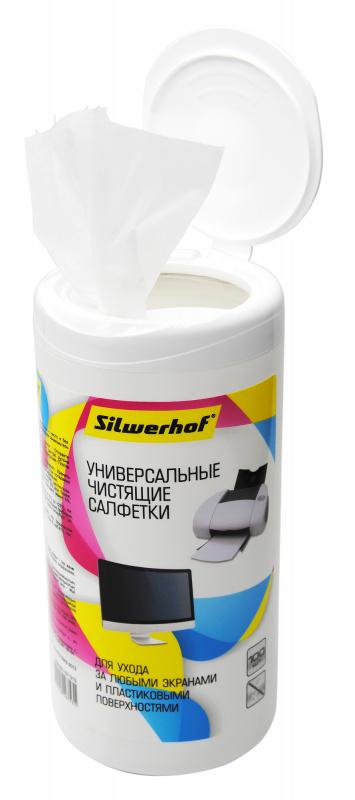 Салфетки Silwerhof 671213 для экранов/пластика туба 100шт влажных
