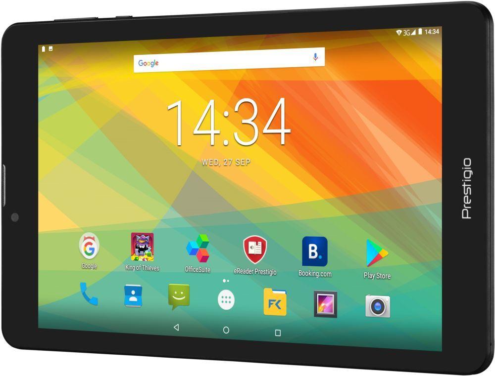 "Планшет Prestigio Muze 3708 3G MTK8321 (1.3) 4C/RAM1Gb/ROM8Gb 8"" IPS 1280x800/3G/Android 7.0/черный/2Mpix/0.3Mpix/BT/GPS/WiFi/Touch/microSD 32Gb/minUSB/4000mAh"