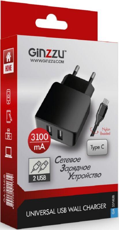Сетевое зар./устр. Ginzzu GA-3314UB 3.1A универсальное кабель USB Type C черный