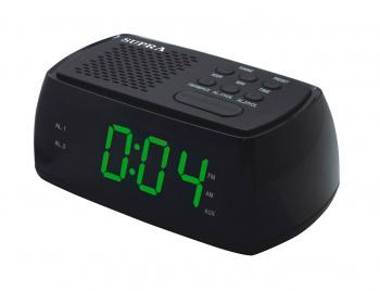 Радиобудильник Supra SA-45FM черный LCD подсв:зеленая часы:цифровые AM/FM