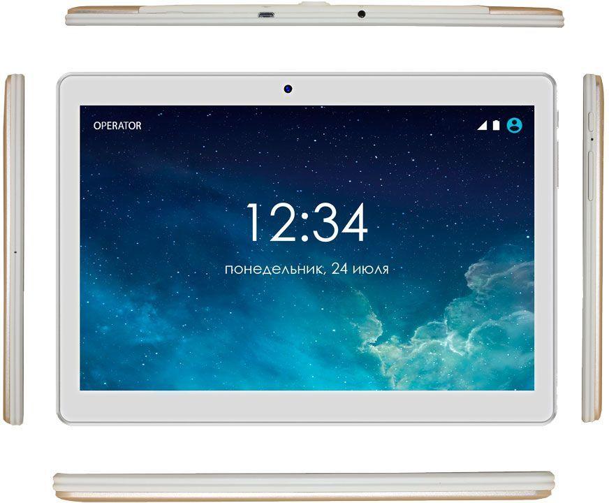 "Планшет Ginzzu GT-1045 SC7731 (1.3) 4C/RAM1Gb/ROM8Gb 10.1"" IPS 1280x800/3G/Android 6.0/золотистый/5Mpix/2Mpix/BT/GPS/WiFi/Touch/microSDHC 32Gb/minUSB/5000mAh"