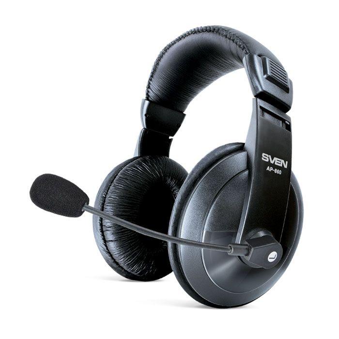 Наушники с микрофоном Sven AP-860MV черный 2м мониторы оголовье
