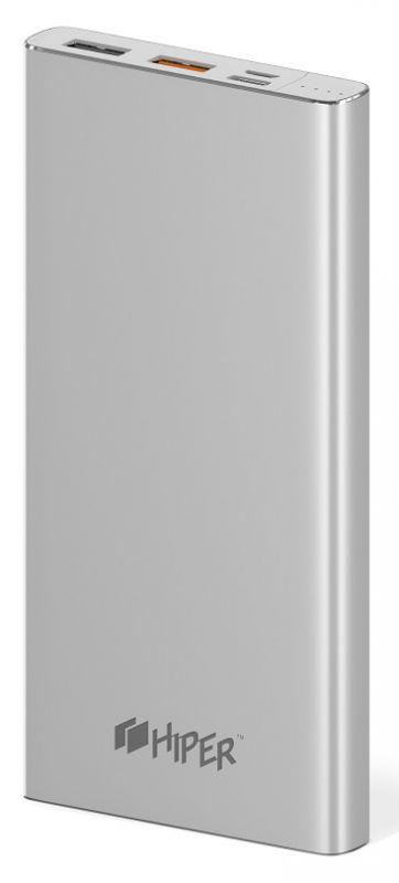 Мобильный аккумулятор Hiper MPX10000 Li-Pol 10000mAh 3A+3A+2.4A серебристый 2xUSB