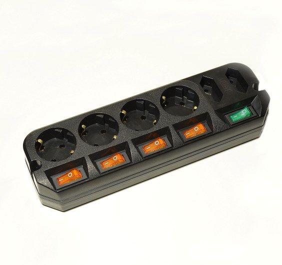 Сетевой удлинитель Most A10 3м (6 розеток) черный (пакет ПЭ)