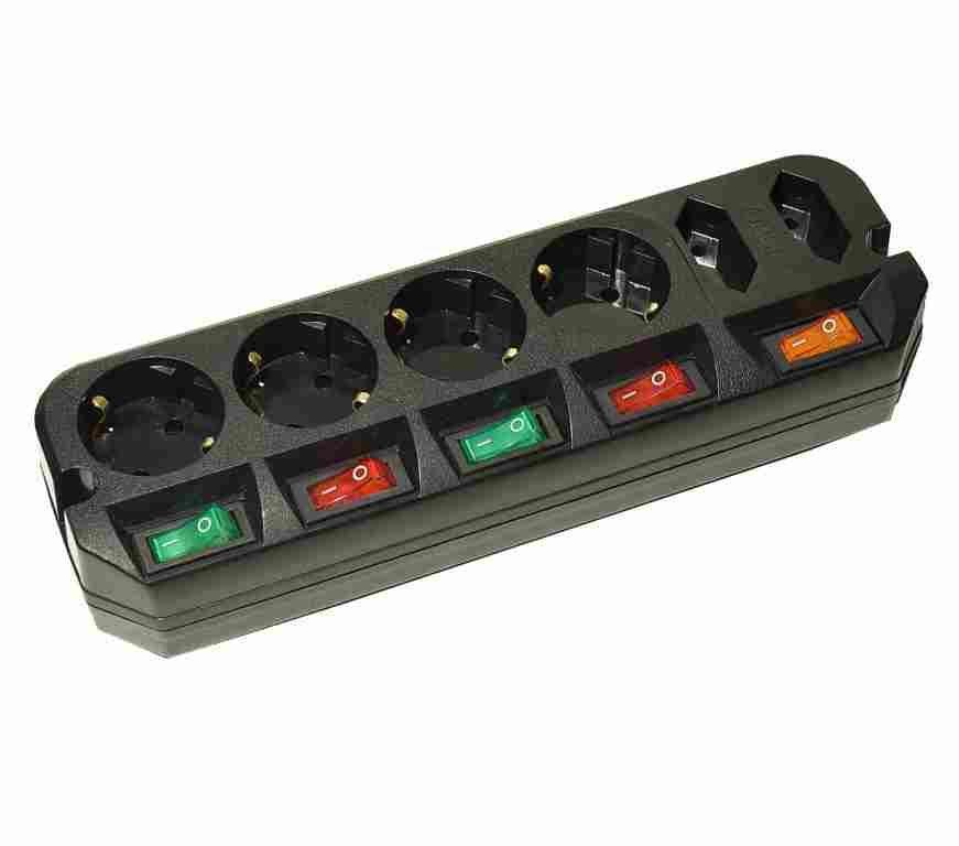 Сетевой удлинитель Most A16 1.6м (6 розеток) черный (пакет ПЭ)
