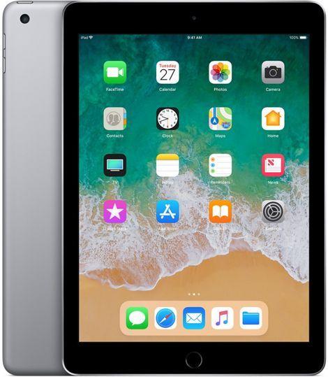 "Планшет Apple iPad 2018 MR722RU/A A10 Fusion 4C/RAM2Gb/ROM128Gb 9.7"" IPS 2048x1536/3G/4G/iOS/темно-серый/8Mpix/1.2Mpix/BT/WiFi/Touch/EDGE/10hr"