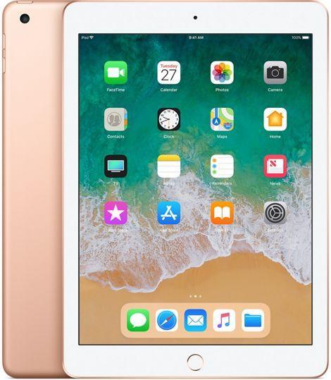 "Планшет Apple iPad 2018 MRM22RU/A A10 Fusion 4C/RAM2Gb/ROM128Gb 9.7"" IPS 2048x1536/3G/4G/iOS/золотистый/8Mpix/1.2Mpix/BT/WiFi/Touch/EDGE/10hr"