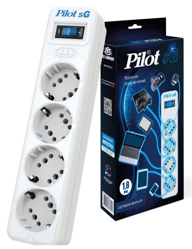 Сетевой фильтр Pilot SG 4x8 1.8м (4 розетки) белый (коробка)