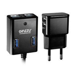 Разветвитель USB 3.0 Ginzzu GR-384UAB 4порт. черный