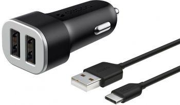 Автомобильное зар./устр. Deppa 2.4A универсальное кабель USB Type C черный (11284)