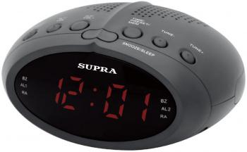 Радиобудильник Supra SA-24FM черный LED подсв:красная часы:цифровые FM/УКВ