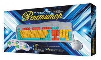 Игровая консоль Dendy Магистр Репетитор серебристый +Кабель AV, Джойстик 8-bit 9р- 2шт, Обучающий Картридж 8-bit, мышь