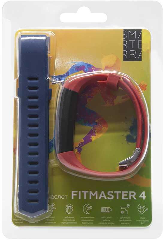 Фитнес-трекер Smarterra FitMaster 4 IPS корп.:черный рем.:красный (SMFT-04REBL)