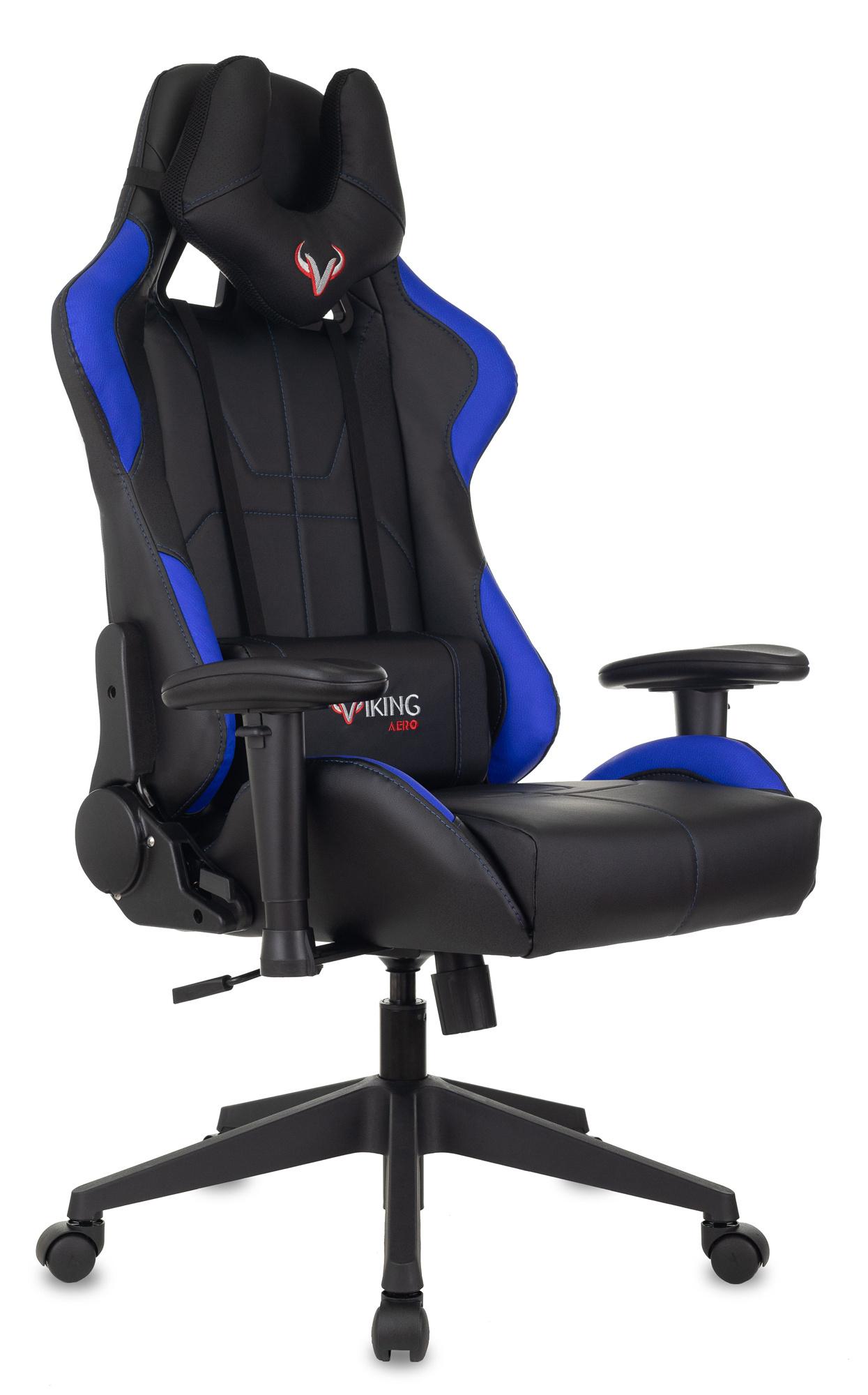 Кресло игровое Бюрократ VIKING 5 AERO BLUE черный/синий искусственная кожа