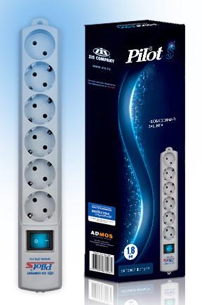 Сетевой фильтр Pilot S 1.8м (6 розеток) белый (коробка)