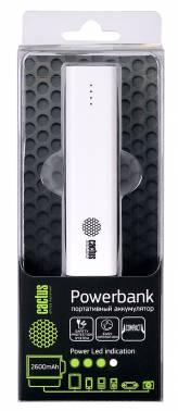Мобильный аккумулятор Cactus CS-PBAS120-2600WT Li-Ion 2600mAh 1A белый 1xUSB