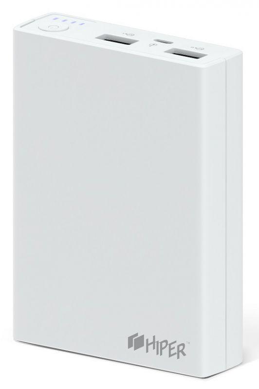 Мобильный аккумулятор Hiper RP10000 Li-Ion 10000mAh 2.1A+1A белый 2xUSB