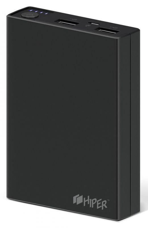 Мобильный аккумулятор Hiper RP10000 Li-Ion 10000mAh 2.1A+1A черный 2xUSB