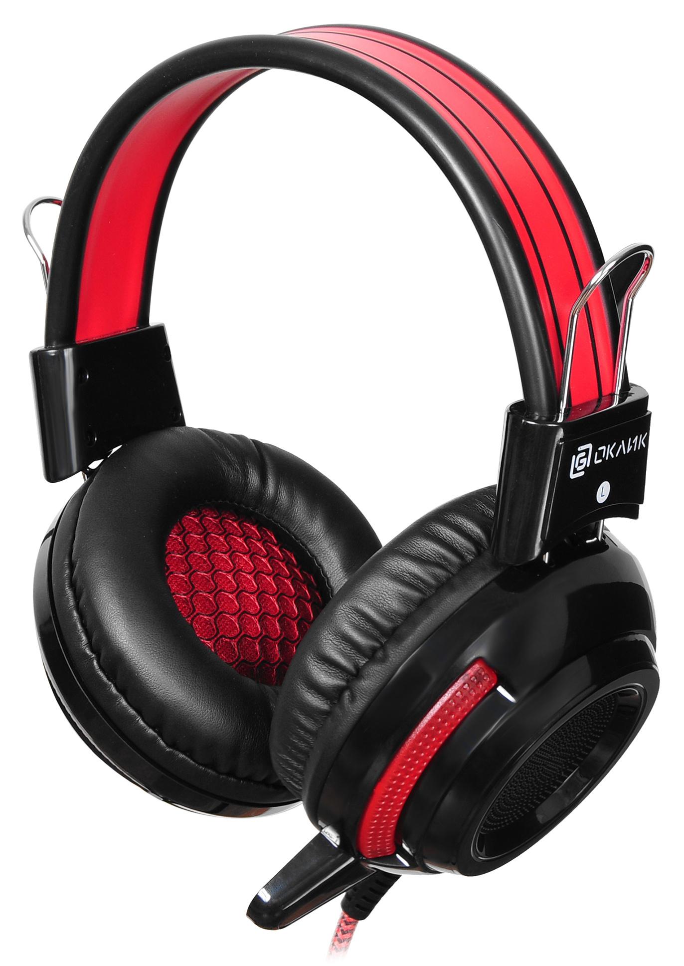 Наушники с микрофоном Oklick HS-G300 ARMAGEDDON черный/красный 2.5м мониторы оголовье (AH-V1)