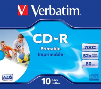 Диск CD-R Verbatim 700Mb 52x Jewel case (10шт) Printable (43325)