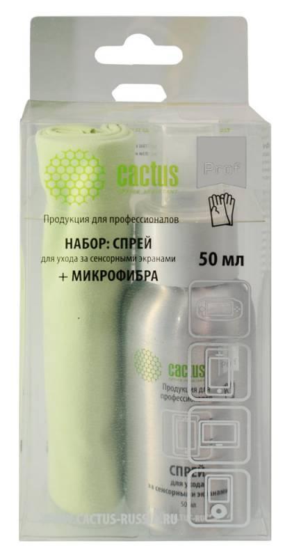 Чистящий набор (салфетки + спрей) Cactus CSP-S3001AL для экранов и оптики 1шт 25х25см 50мл