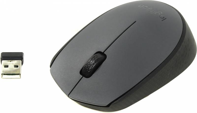 Мышь Logitech M170 серый/черный оптическая (1000dpi) беспроводная USB (2but)