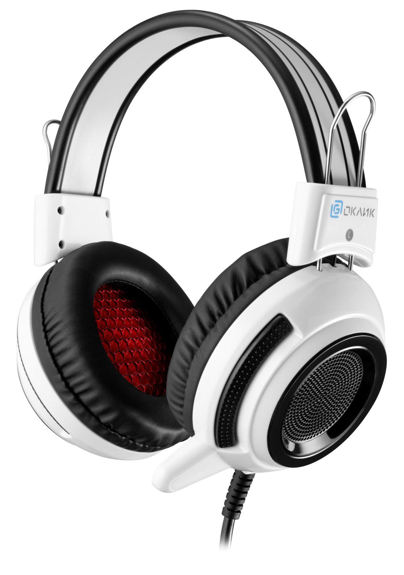 Наушники с микрофоном Oklick HS-G300 ARMAGEDDON белый/черный 2.3м мониторы оголовье (AH-V1W)