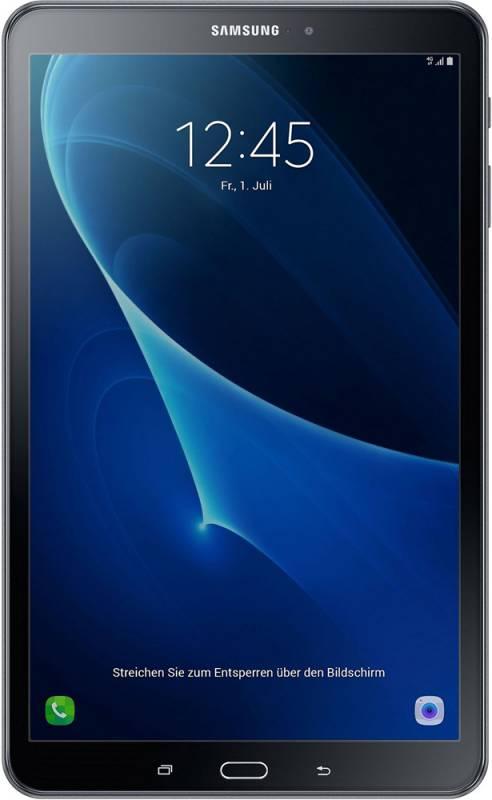 "Планшет Samsung Galaxy Tab A SM-T585N (1.6) 8C/RAM2Gb/ROM16Gb 10.1"" TFT 1920x1200/3G/4G/Android 6.0/черный/8Mpix/2Mpix/BT/GPS/WiFi/Touch/microSD 200Gb/minUSB/7300mAh/13hr"