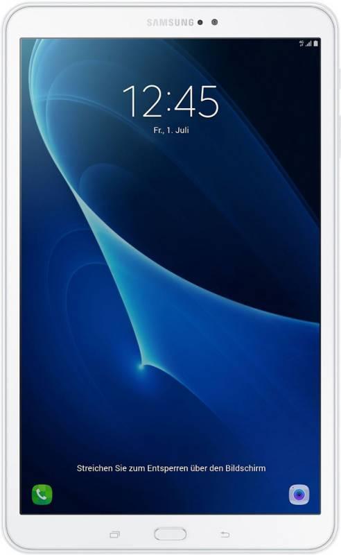 "Планшет Samsung Galaxy Tab A SM-T585N (1.6) 8C/RAM2Gb/ROM16Gb 10.1"" TFT 1920x1200/3G/4G/Android 6.0/белый/8Mpix/2Mpix/BT/GPS/WiFi/Touch/microSD 200Gb/minUSB/7300mAh/13hr"