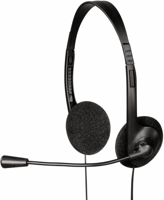 Наушники с микрофоном Hama HS-101 черный 1.7м накладные оголовье (00053999)