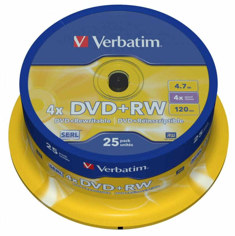 Диск DVD+RW Verbatim 4.7Gb 4x Cake Box (25шт) (43489)
