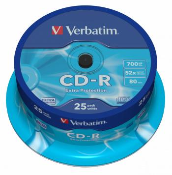 Диск CD-R Verbatim 700Mb 52x Cake Box (25шт) (43432)