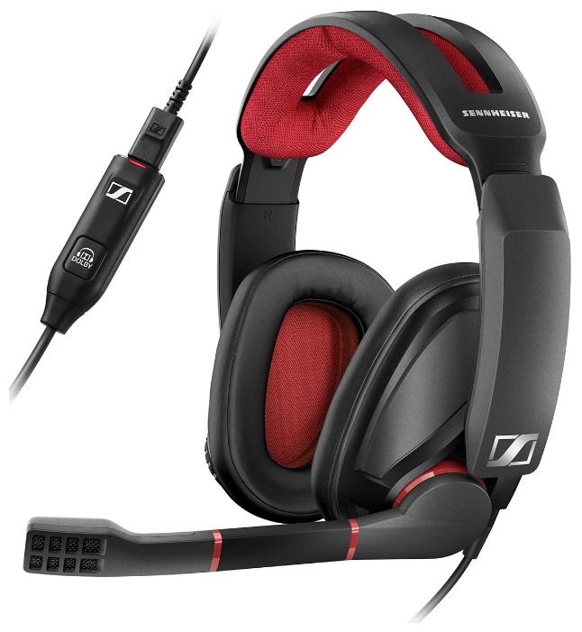 Наушники с микрофоном Sennheiser GSP 350 черный/красный накладные оголовье (507081)