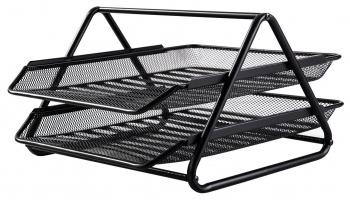 Лоток горизонтальный Deli E9183 для бумаг 350х274х185мм черный металл сетка