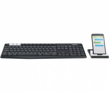 Клавиатура Logitech Multi-Device Stand Combo K375s темно-серый беспроводная BT slim Multimedia для ноутбука