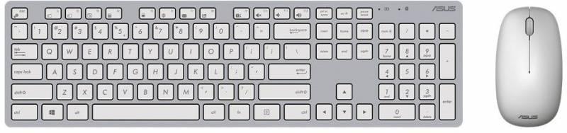 Клавиатура + мышь Asus W5000 клав:серый/белый мышь:серый/белый USB беспроводная slim Multimedia