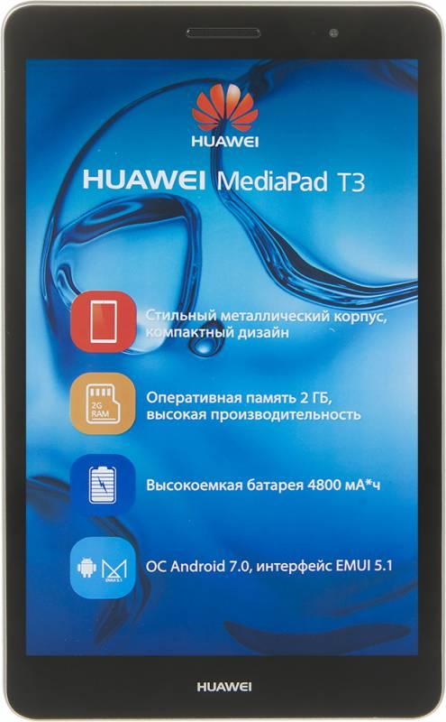 "Планшет Huawei MediaPad T3 8.0 Snapdragon 425 (1.4) 4C/RAM2Gb/ROM16Gb 8"" IPS 1280x800/3G/4G/Android 7.0/серый/5Mpix/2Mpix/BT/GPS/WiFi/Touch/microSDHC 128Gb/minUSB/4800mAh"