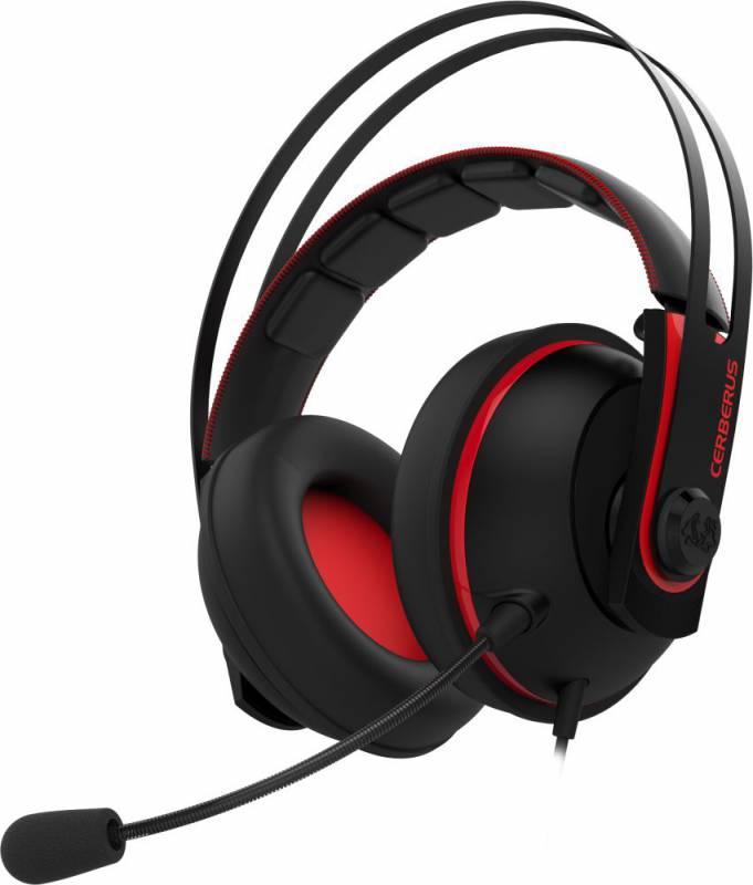 Наушники с микрофоном Asus Cerberus V2 красный/черный 1.2м мониторы оголовье (90YH015R-B1UA00)