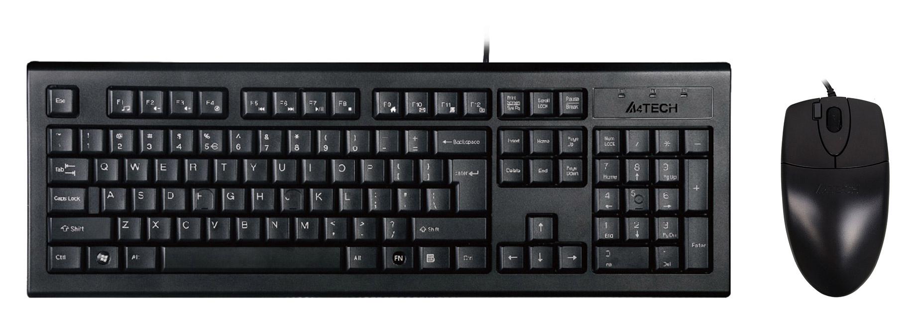 Клавиатура + мышь A4 KR-8520D клав:черный мышь:черный USB
