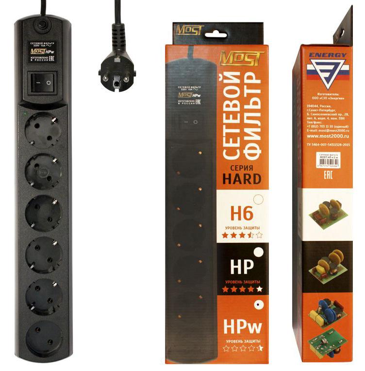 Сетевой фильтр Most HPw 5м (6 розеток) черный (коробка)