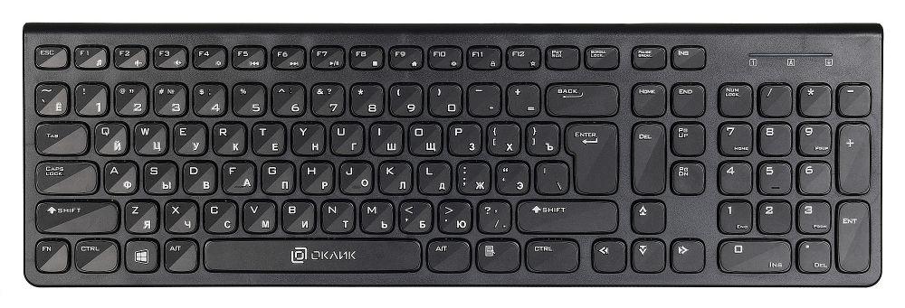 Клавиатура Oklick 590M черный USB slim Multimedia