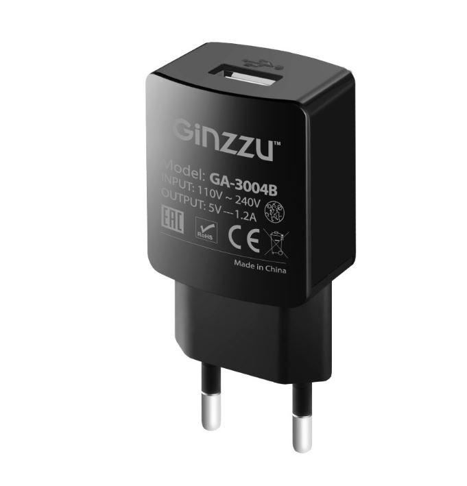 Сетевое зар./устр. Ginzzu GA-3004B 1.2A универсальное кабель microUSB черный
