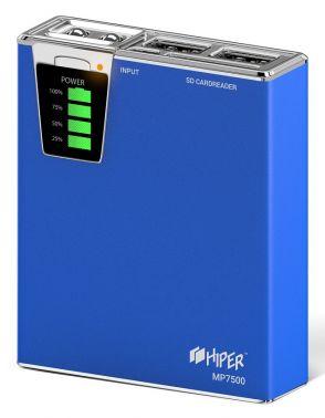 Мобильный аккумулятор Hiper MP7500 Li-Ion 7500mAh 2.1A+1A синий 2xUSB