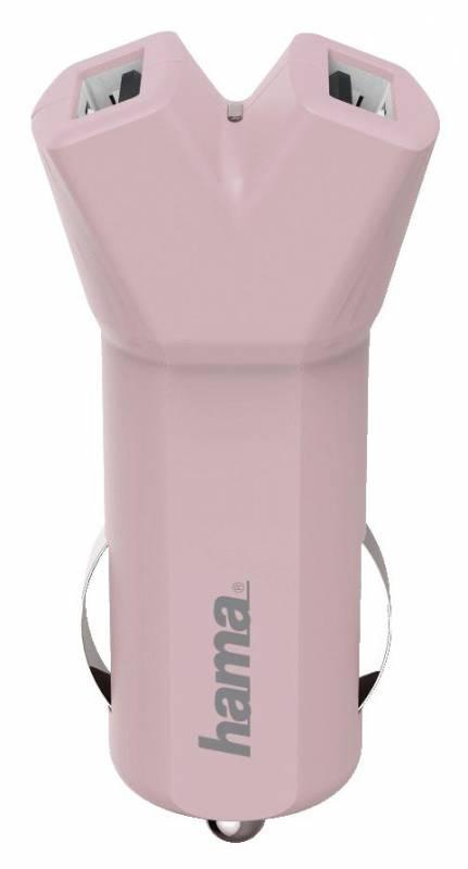 Автомобильное зар./устр. Hama Design Line 3.4A универсальное розовый (00178211)