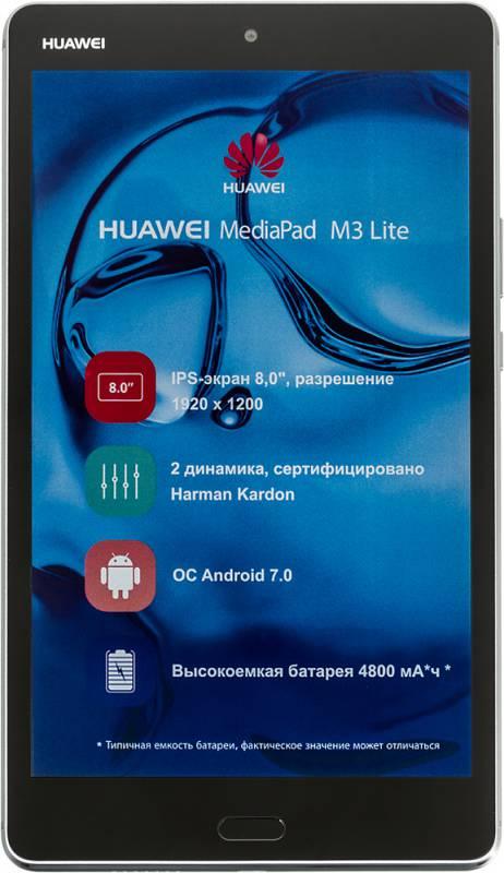 "Планшет Huawei MediaPad M3 Lite Snapdragon 435 (1.4) 8C/RAM3Gb/ROM32Gb 8"" IPS 1920x1200/3G/4G/Android 7.0/серый/8Mpix/8Mpix/BT/GPS/WiFi/Touch/microSD 128Gb/minUSB/4800mAh"
